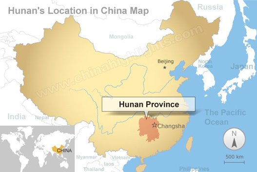 Hunan's location in China map