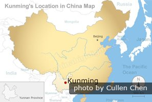 Kunming location in China map