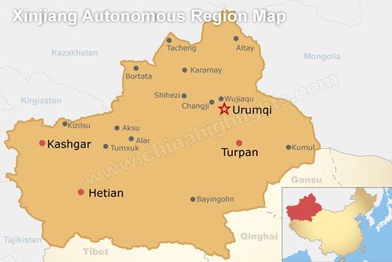 Xinjiang Provinve Map
