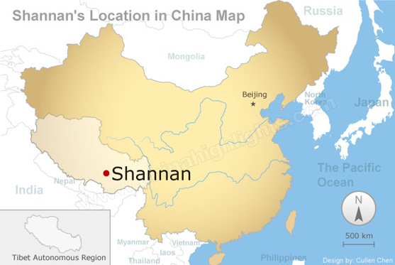 Shannan's Location in China Map