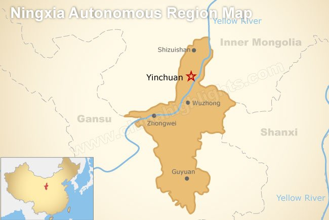 Ningxia China Map.Ningxia Map Map Of Ningxia S Tourist Attractions And Cities