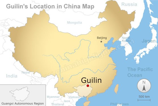 guilin's location in china