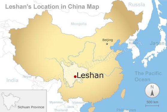 Leshan's Location in China Map