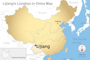 Lijiang's location in China