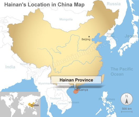 Hainan's location in China map