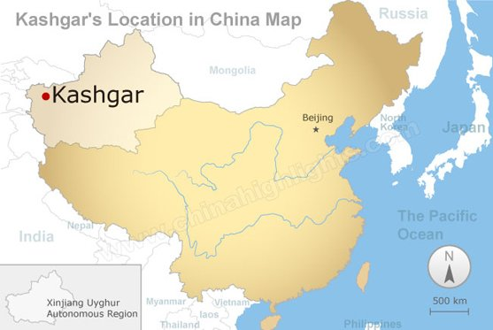 Kashgar's Location in China Map
