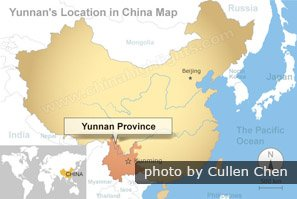 Yunnan location in China map