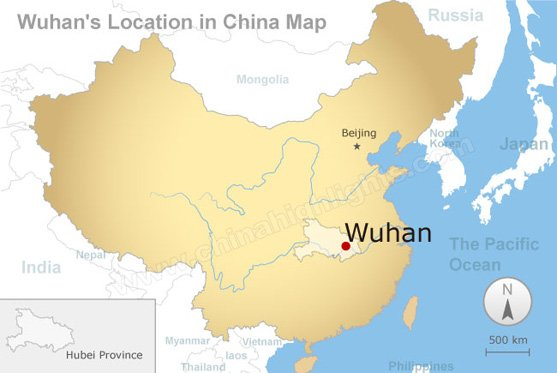 wuhan's location in china