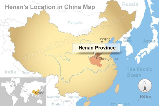 Henan's location in China map