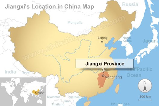 Jianxi's location in China map