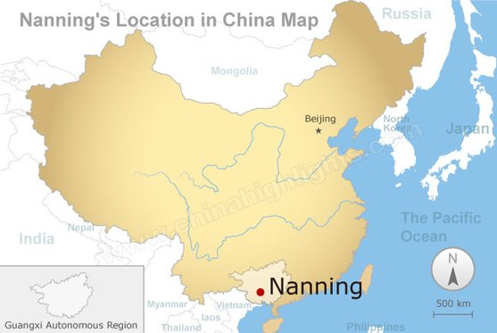 nanning's location in china