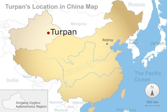Turpan's Location in China Map