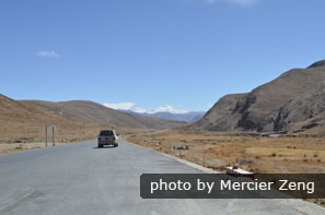Roads in Tibet are smoothly paved