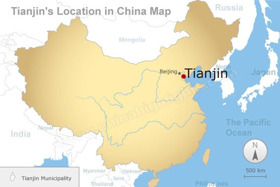 tianjin's location in china