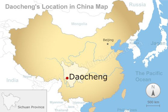 Daocheng's Location in China Map