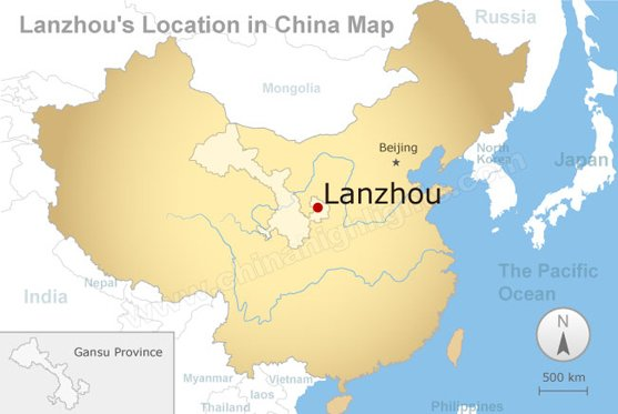 lanzhou's location in china