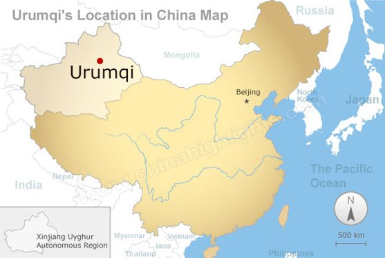urumqi's location in china