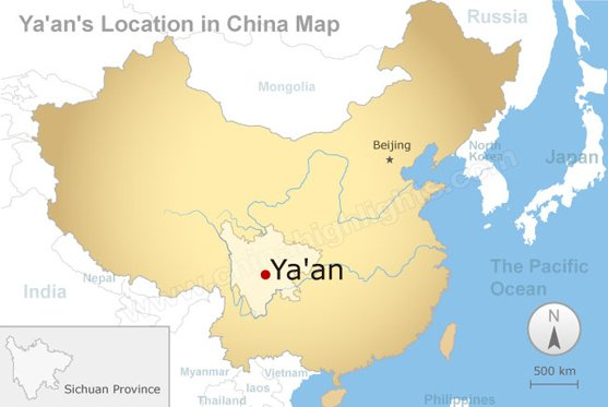Ya'an's Location in China Map