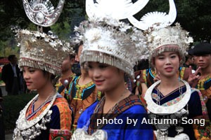 Miao people in ceremony costumes
