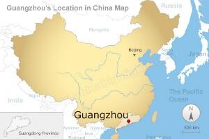 Guangzhou's location in China