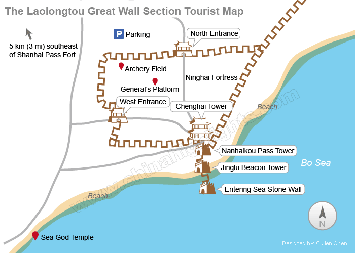 Laolongtou Great Walll Section Map
