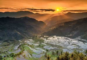 The spectacular sunset over Yuangyang Rice Terraces