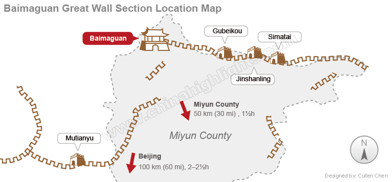 The Baimaguan Great Wall Section Map