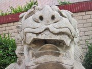 white stone lion face