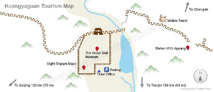 Carte de la muraille de Chine Huangyaguan