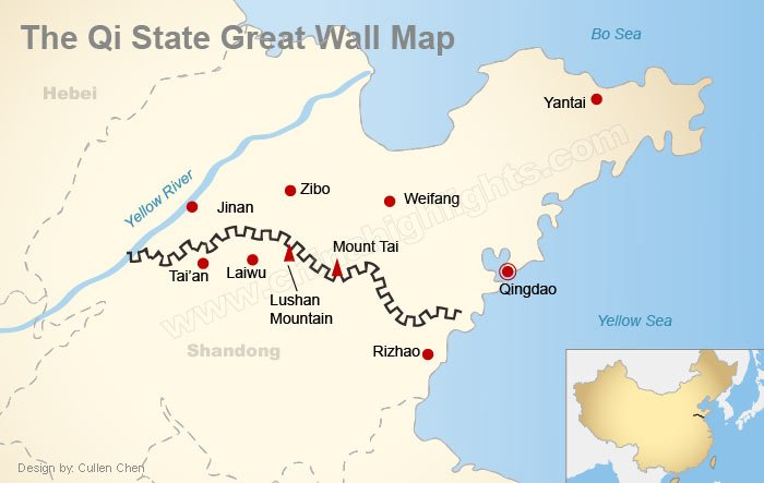 Qi State Great Wall Map