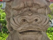 Dragon-like stone lion face