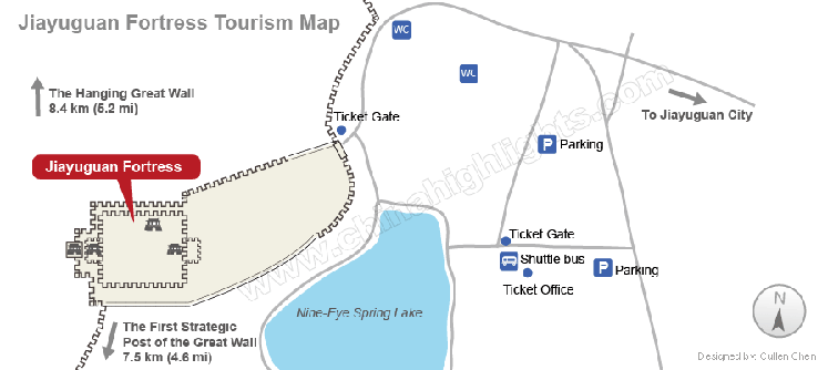 Jiayuguan Great Wall Fort Tourism Map