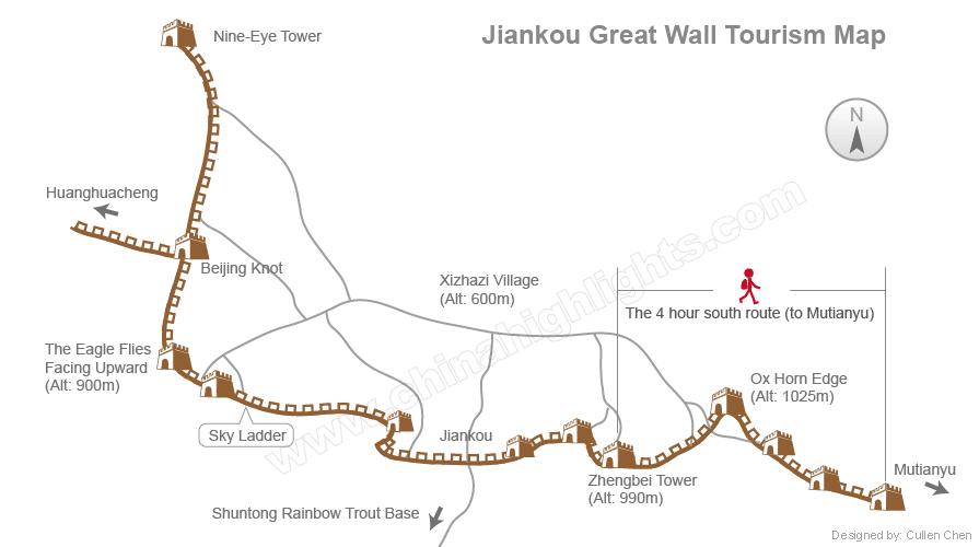 箭扣から慕田峪までのルート地図