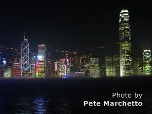 Hong Kong harbor, night