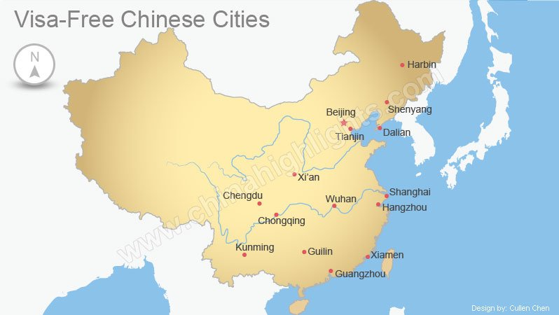 Chinese visa-free cities map