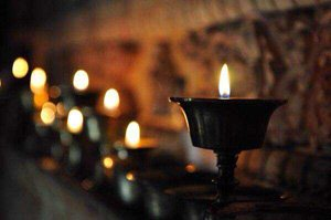 Candles in Tibet