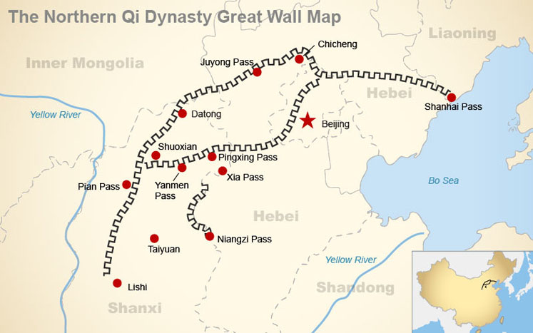 Great wall maps where the great wall is and was northern qi dynasty great wall map gumiabroncs