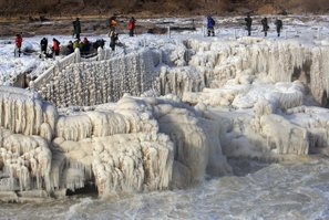 Hukou Waterfall in Winter