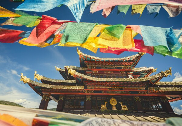 the colorful flag and temple