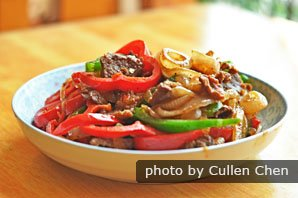 Black pepper beef fillet is a typical stir-frying dish