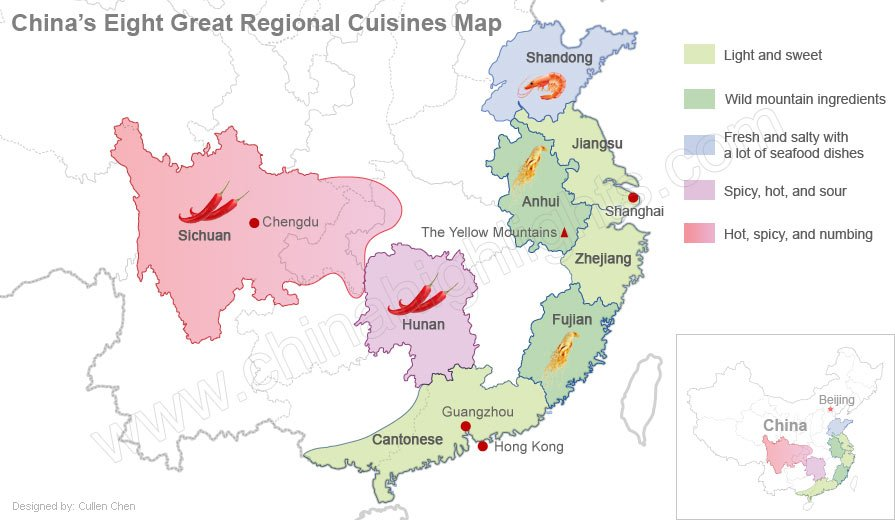 China's eight cuisine map