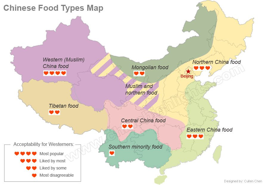 china regional cuisine map