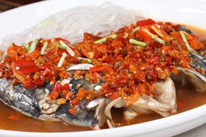 steamed fish head with diced hot red peppers