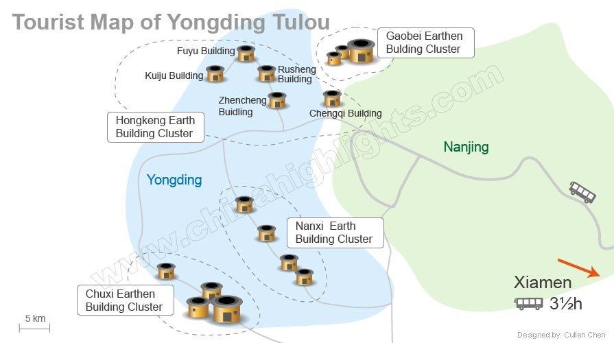 Yongding tulou map