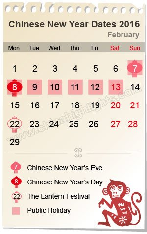 Chinese new year date 2016