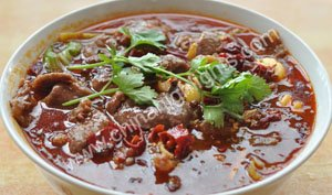 Poached Sliced Beef in Hot Chili Oil