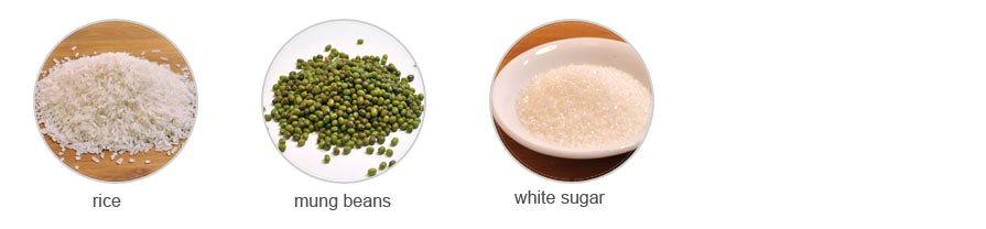 Ingredients of Congee with Mung Bean