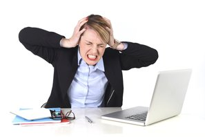 Grimacing Woman with Laptop