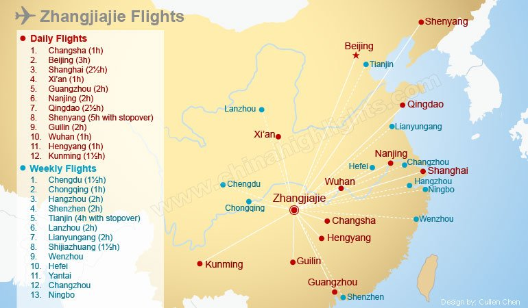 Zhangjiajie Flights Map