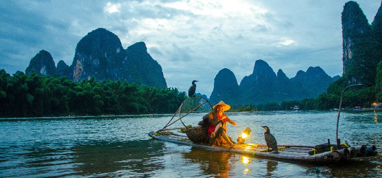 Li River Sunset and Fisherman